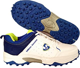 SG Latest Superior Cricket Shoes with Rubber Spikes for Men - 6 UK (White/Lime)