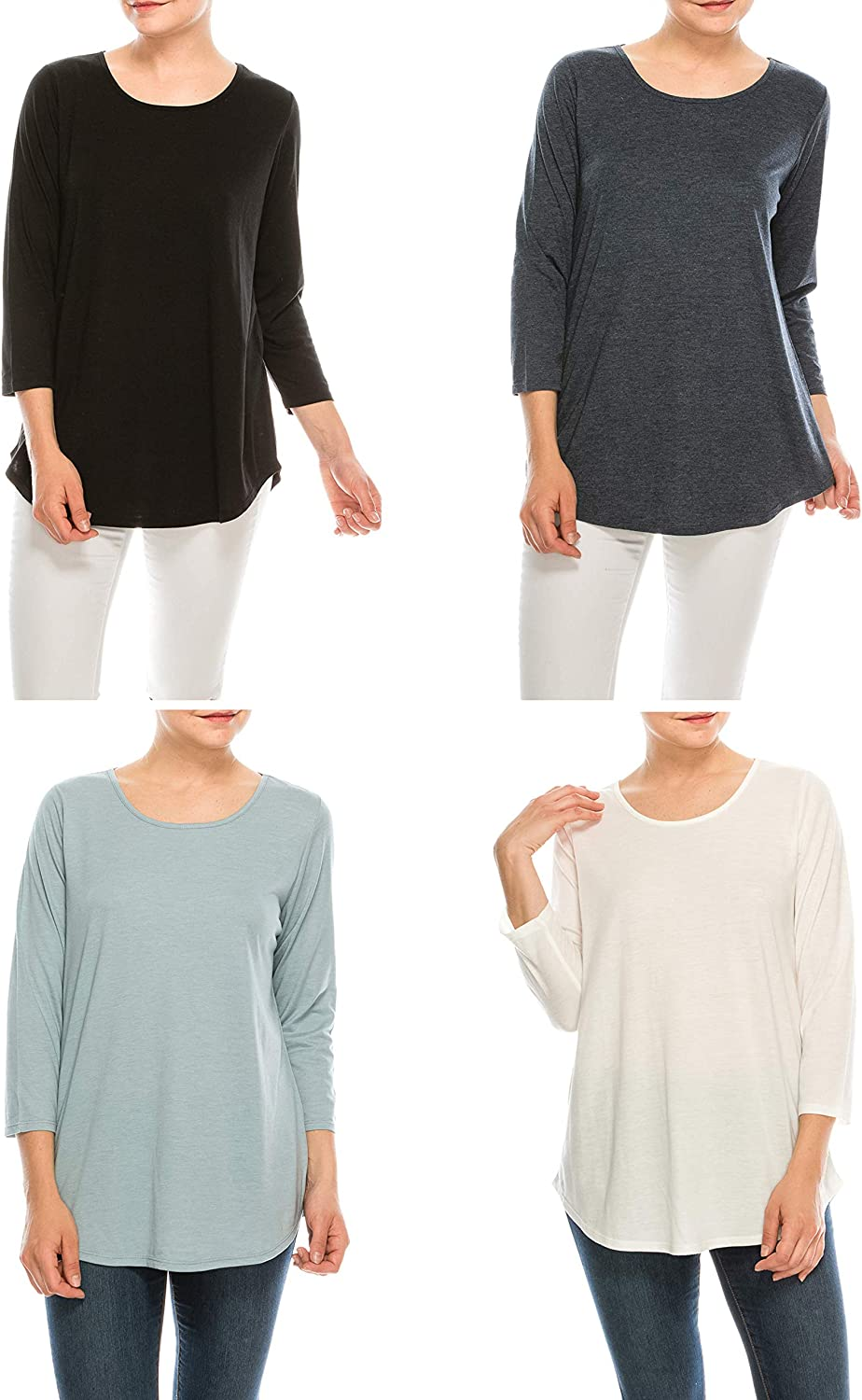 Urban Diction 4 Pack Women's Loose Colorado Springs Mall Department store T-Shi Sleeve Comfortable Long