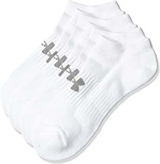 Under Armour Unisex Training Cotton No Show 3 Socks, White (White/Steel), Large