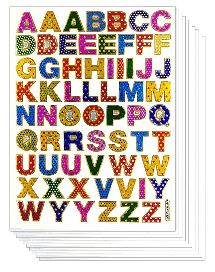 0.5 Inches A-Z Letter 10 Sheets Colorful Alphabet Letters Self-adhesive Glitter Metallic Foil Reflective Sticker Decorative Scrapbook for Kid, Photo, Card, Diary, Album. Each Letter 0.5 Inches High