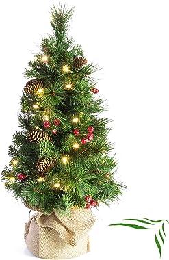 artplants.de Albero di Natale Decorativo BUKAREST con 35 LED, Decorato, 80 Rami, 60cm, Ø 35cm - Albero di Natale con luci/Abe