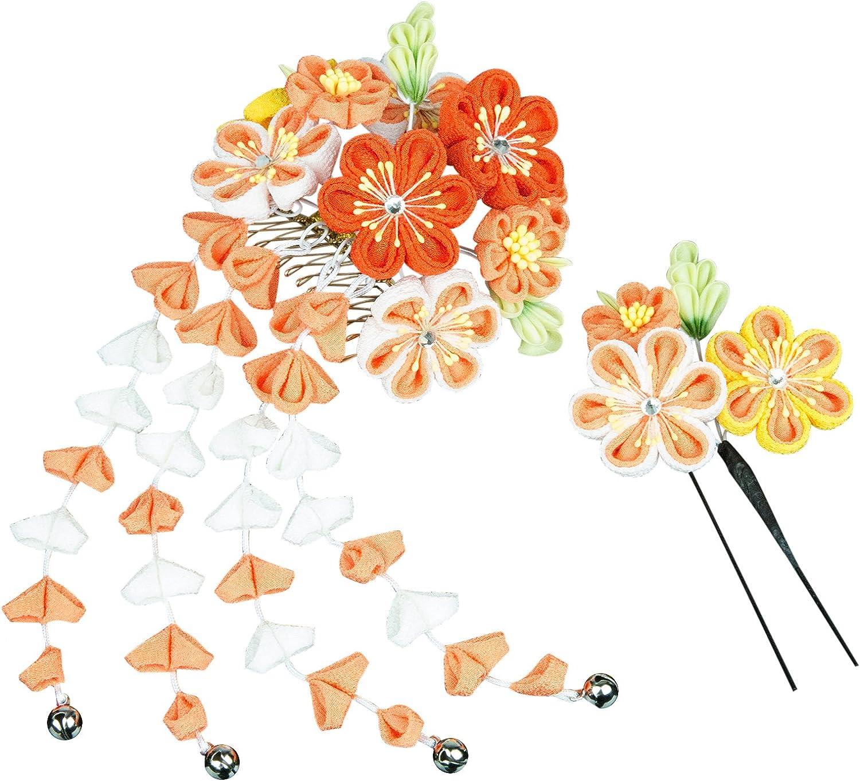 KYOETSU Women's Japanese Hair Ornament Set Kanzashi for Kimono Comb Prong 7w8200