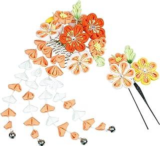 مجموعة زينة الشعر اليابانية النسائية من KYOETSU Kanzashi للمشط كيمونو الشق 7w8200