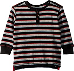 Black Striped Waffle Henley (Toddler/Little Kids/Big Kids)