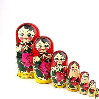 comprar comparacion Muñecas Rusas, 7 Matrioskas Rojas de Estilo Semiónov Clásico | Muñeca Babushka de Madera Hecha a Mano en Rusia | Semiónov ...