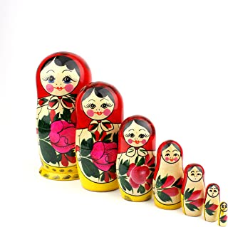 Heka Naturals Russian Nesting Dolls, 7 Traditional Matryoshka Classic Semyonov Red Style | Babushka Wooden Doll Gift Toys, Hand Made in Russia | Semyonov Red, 7 Piece, 7 inches
