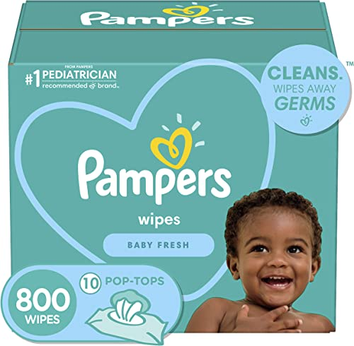 Pampers, Baby Diaper Wipes, Baby Fresh Scent, 10X Pop-Top Packs, 800 Count