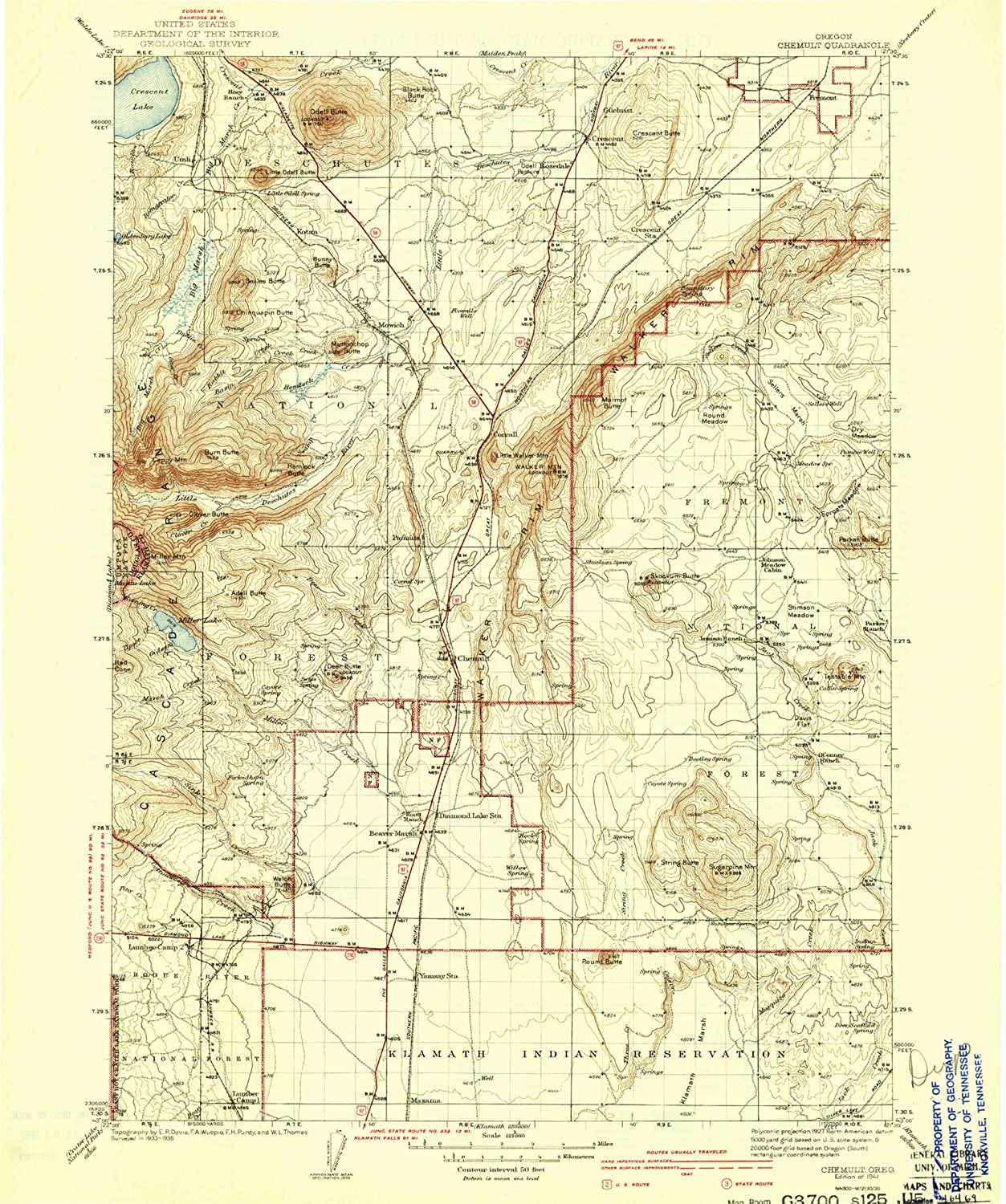 Chemult OR topo map, 1 125000 Scale, 30 X 30 Minute, Historical, 1941, Updated 1941, 19.8 x 16.6 in