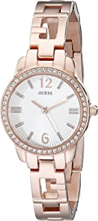 GUESS Women's U0568L3 Iconic  Rose Gold-Tone Logo Watch with Genuine Crystals & Self-Adjustable Links