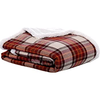 Amazon.com: Eddie Bauer | Flannel Collection | Throw Blanket-Reversible  Sherpa Fleece Cover, Soft & Cozy, Perfect for Bed or Couch, Edgewood Red:  Home & Kitchen