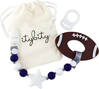 Football Baby Teething Toy with Pacifier Clip Boy or Girl Teether (Navy, White)