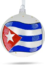 BestPysanky Flag of Cuba Glass Ball Christmas Ornament 4 Inches