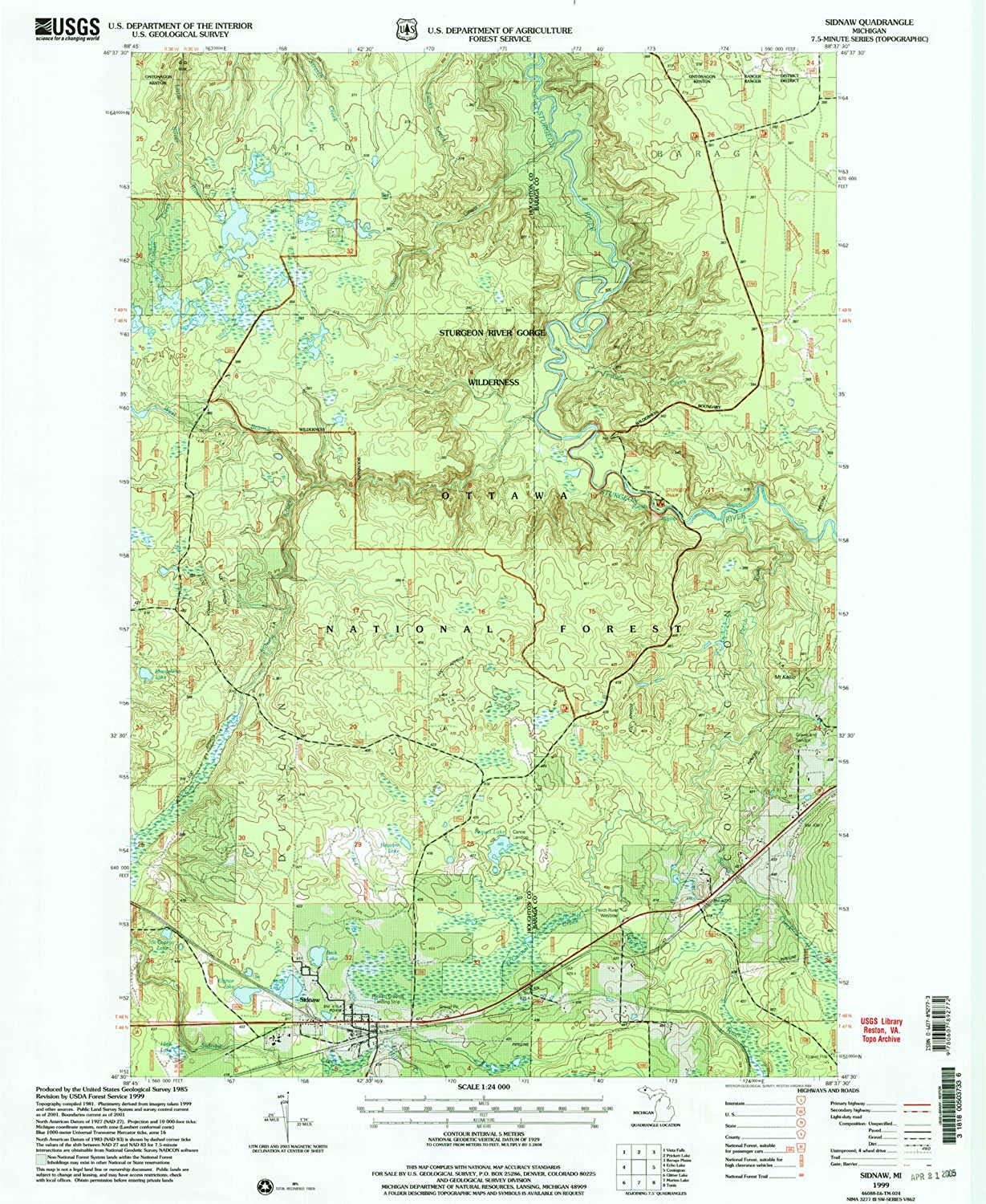 Sidnaw MI topo map, 1 24000 Scale, 7.5 X 7.5 Minute, Historical, 1999, Updated 2004, 26.9 x 22 in