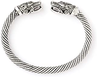HAQUIL Viking Bracelet Norse Wolf Head Bangle Bracelet Viking Jewelry Birthday Gift for Men for Women