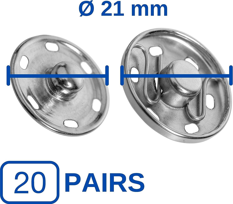 /Ø 6 mm Durchmesser Rost-frei Druck Kn/öpfe N/ähen Reparatur Knopf DIY N/ähzubeh/ör Buttons Metall Kn/öpfe Druckkn/öpfe zum Ann/ähen Aufn/äher f/ür Kleidung und Stoffe 20 Paare in Silber Jersey Snaps