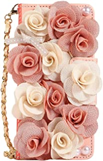 Phone Wallet Case Compatible with Samsung Galaxy S10 /S10e /S10+ S10plus Pretty Flip Leather Bag Purse Protective Stand Cover with Strap (Pink Flower, for Samsung Galaxy S10+ /S10 Plus)