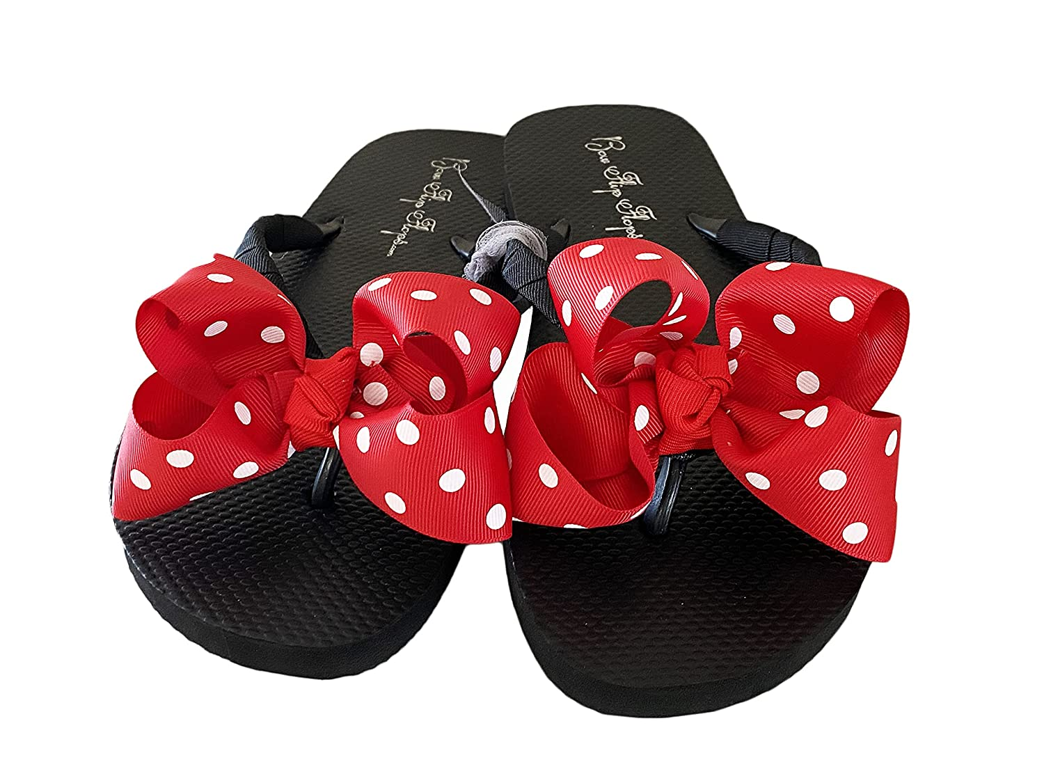 Red Polka Dot Bow Black Flat Flip Sale price Solid - your Max 77% OFF Flops Choose -Or