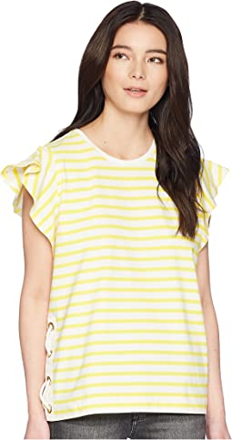 Petite Striped Cotton Flutter-Sleeve T-Shirt