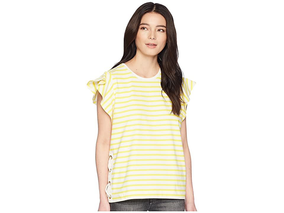LAUREN Ralph Lauren Petite Striped Cotton Flutter-Sleeve T-Shirt (Mascarpone Cream/Hampton Yellow) Women