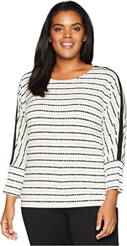 Plus Size Printed Long Sleeve Top w/ Bar Hardware