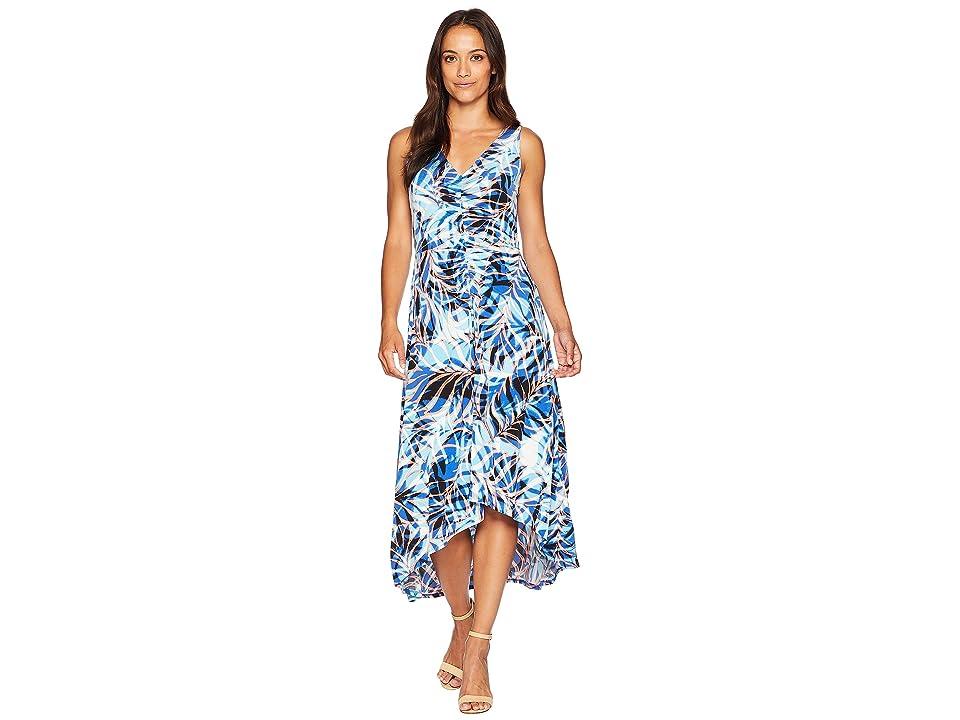 London Times High-Low Matte Jersey Dress (Soft White/Blue) Women