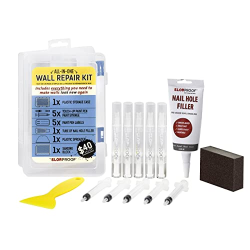 Slobproof Wall Repair Patch Kit | Fillable Paint Brush Pens, Putty Knife, Spackle & Sanding Block | Paint and Wall Patch Spackle Kit for Drywall Repair, Dent Repair and Wood Scratch Repair, 5-Pack Kit