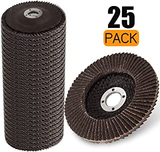 LANIAKEA 4 x 5/8 Inch Flap Disc 25 Pack Sanding Discs 60 Grit Angle Grinder Sanding Disc for Deburring Rust Removal Black