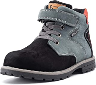 Ahannie Boys Classic Leather Side Zipper Ankle Boots Kids Outdoor Hiking Martin Boots(Toddler/Little Kids)
