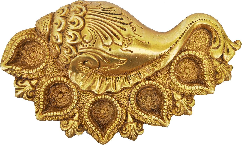 Cheap SALE Start Metal Conch Shape online shopping Oil Lamp Deepak - Unique Finish Yellow Antique