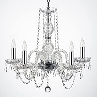 Empress Crystal (tm) Chandelier Chandeliers Lighting with Chrome Sleeves! H25
