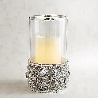 New Pier One Glitz Snowflake Glass Mirror Beads Pillar Candle Hurricane Holder 2pc