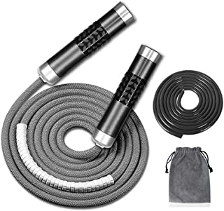 Redify Weighted Jump Rope for Workout Fitness(1LB), Tangle-Free Ball Bearing Rapid Speed Skipping Rope for MMA Boxing Weig...
