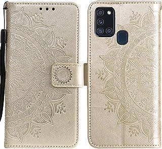 جراب ESSTORE-EU لهاتف Samsung Galaxy A21s، جراب محفظة من الجلد الصناعي بتصميم ماندالا وردة، جراب هاتف مضاد للصدمات لهاتف S...