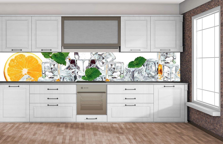 Self-adhesive splashback kitchen foil LEMON AND ICE 350 x 60 cm PREMIUM QUALITY Water-resistant foil for kitchen