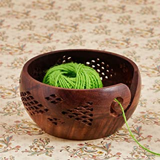 Eximious India Mother's Day Special Wooden Yarn Bowl for Knitting and Crochet, Large Size 6