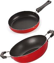 Nirlon Non-Stick Aluminium Cookware Set, 2-Pieces, Red (2.6mm_FP10_KD11)