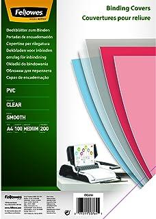 Fellowes - 5376102 - Couvertures de reliure PVC transparent A4 en PVC 200 microns - Pack de 100