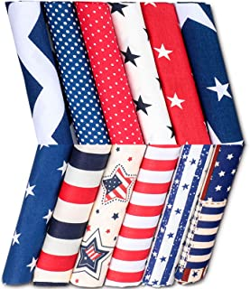 12 Pieces Patriotic Fat Quarters 15.7 x 19.6 Inch Stars and Stripes Fabric Independence Day 4th of July American Flag Prin...