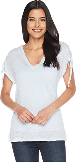 Drawstring Shoulder V-Neck Linen Tee