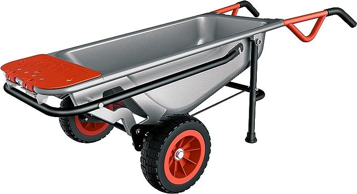 Carriola a due ruote porta sacchi porta fusti trasporto sassi capacità carico 136 kg worx wg050