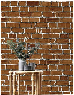 HaokHome 91058 Peel and Stick Vintage Faux Brick Wallpaper Removable 17.7