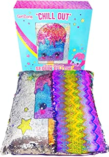 GirlZone: Magical Reversible Sequin Pillow for Girls Bedroom Decor, Great Gift for Girls (Purple)