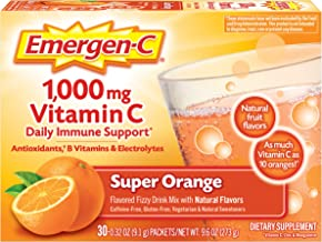 Emergen-C 1000mg Vitamin C Powder, with Antioxidants, B Vitamins and Electrolytes, Vitamin C Supplements for Immune Support, Caffeine Free Fizzy Drink Mix, Super Orange Flavor - 30 Count