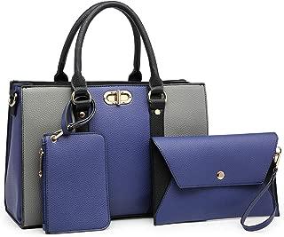 Women Fashion Two Tone Medium Handbags Top Handle Satchel Purse Shoulder Bag with Wallet and Wristlet 3pcs Purse Set