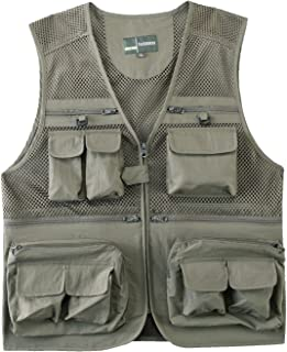 Mens Summer Outdoor Work Safari Fishing Travel Photo Vest with Pockets