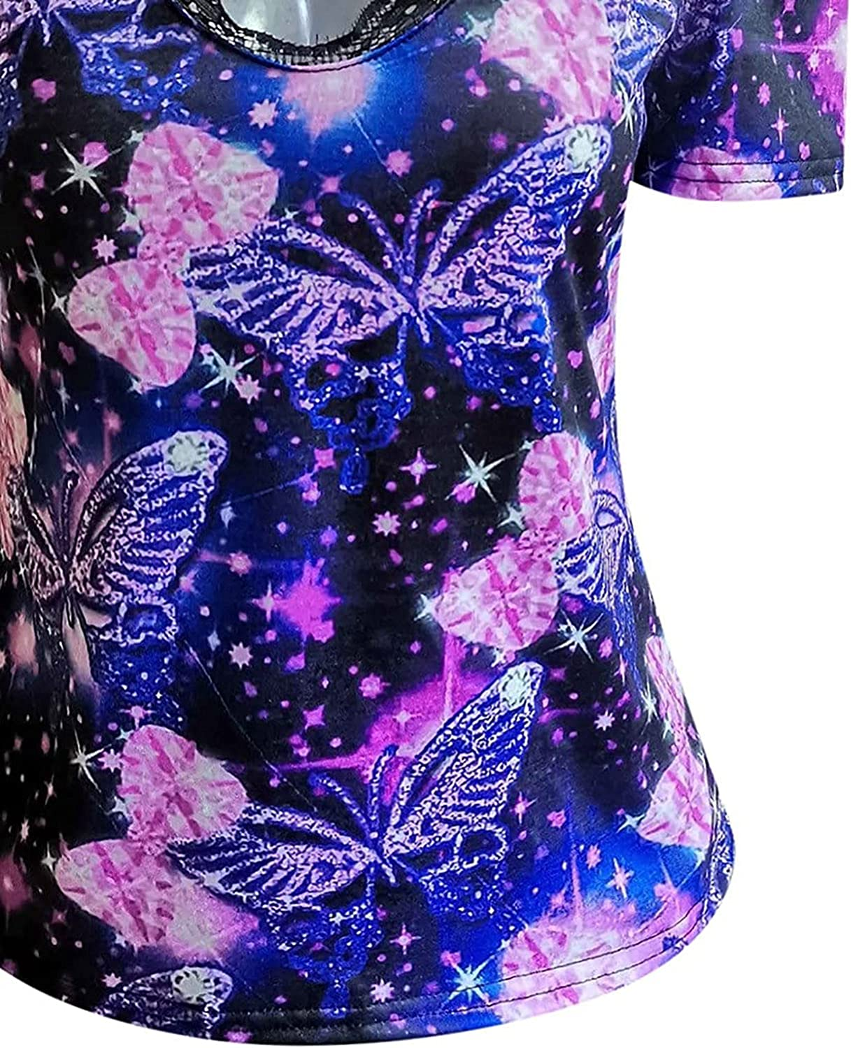 Womens Blouse Loose Strappy Short Sleeve Cold Shoulder Tops, Ladies Butterfly Deep V-Neck Slim Shirt