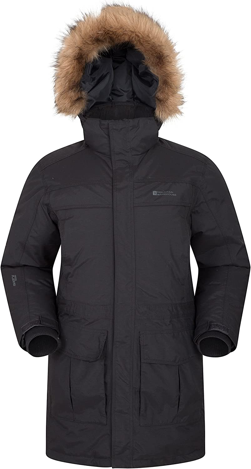 Mountain Warehouse Antarctic Extreme Men's Down Insulated Jacket  Waterproof, IsoDry Fabric with Adjustable Hood, Lots of Pockets