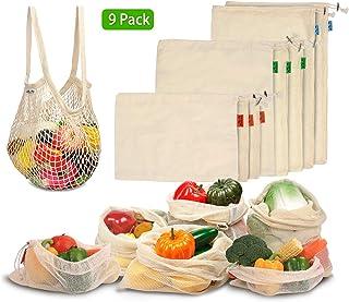 Viedouce Bolsas Compra Reutilizables, 9 PCS Bolsas de Malla Reutilizables Lavables, Bolsas de Algodon Reutilizables para Frutas Verduras,Reutilizable Producir Bolsas (3*S, 3*M, 2*L,1*XL)