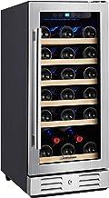 "Kalamera 15"" Wine Cooler and Fridge 30 Bottle Built-in Wine Refrigerator - For Kitchen or Bar with Blue Interior Light & T..."