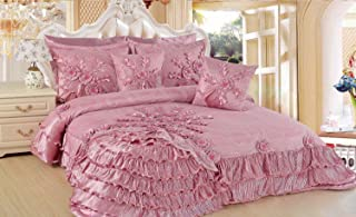DaDa Bedding Royal Victorian Ruffles Cherry Blossom Pink Blooming Comforter Bed Set, Light Paisley Rose, King, 5-Pieces